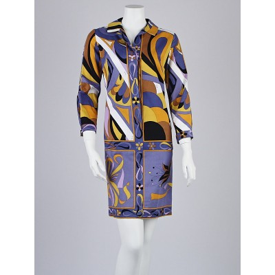 Emilio Pucci Purple Multicolor Cotton Shift Dress Size 6/36