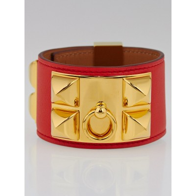 Hermes Capucine Swift Leather Gold Plated Collier de Chien Cuff Bracelet