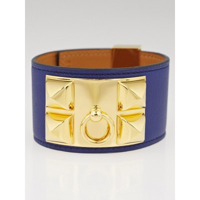 Hermes Blue Sapphire Swift Leather Gold Plated Collier de Chien Bracelet Size L