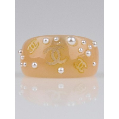 Chanel Pink Resin and Faux Pearl CC Ring Size 6