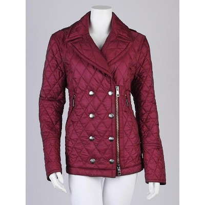 Burberry Brit Raspberry Quilted Nylon Zip Down Jacket Size XL