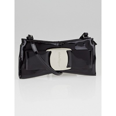 Salvatore Ferragamo Black Patent Iconic Bow Clutch Bag