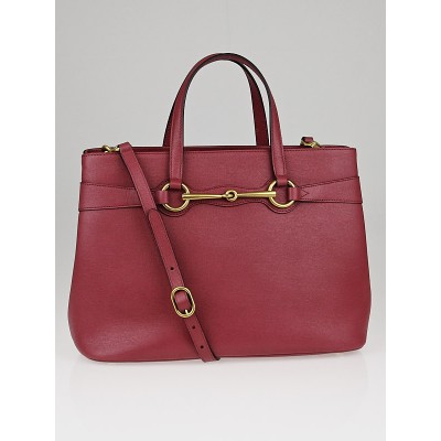 Gucci Pink Leather Bright Bit Medium Top Handle Tote Bag