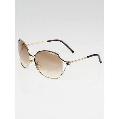 Gucci Gold Metal Frame Gradient Tint Oversized GG Sunglasses-2846