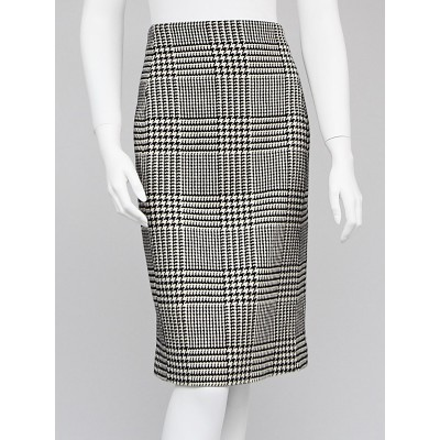 Salvatore Ferragamo Black/White Houndstooth Wool Pencil Skirt Size 10/44