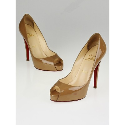Christian Louboutin Camel Patent Leather Very Prive 120 Peep Toe Pumps Size 7/37.5