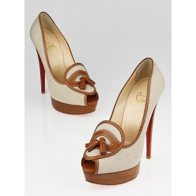 Christian Louboutin Naturel Canvas and Brown Leather Alta Campus 150 Peep Toe Pumps Size 7.5/38