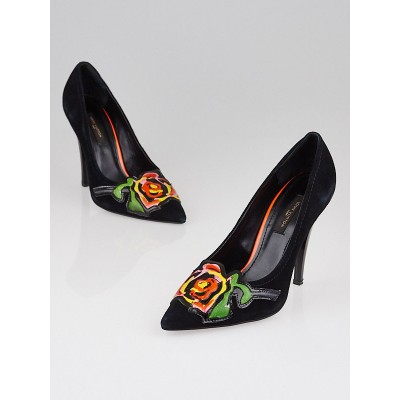 Louis Vuitton Limited Edition Stephen Sprouse Black Suede Rose Pumps Size 6.5/37