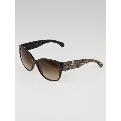 Chanel Brown Frame and Brown Tweed Wayfarer Sunglasses-5237