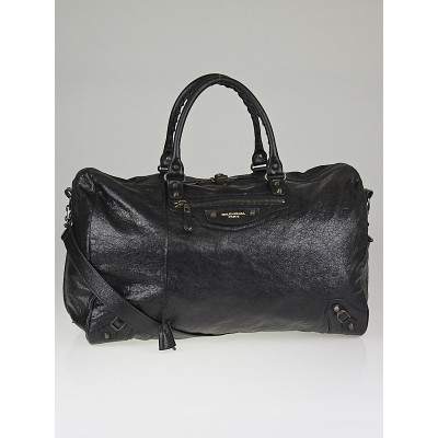 Balenciaga Black Lambskin Leather Voyage 24H Travel Bag