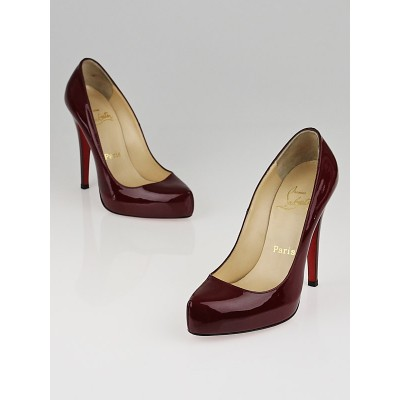 Christian Louboutin Bordeaux Patent Leather Rolando 120 Pumps Size 5.5/36