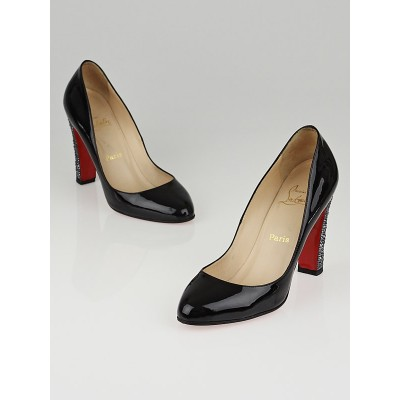 Christian Louboutin Black Patent Leather Clichy Strass Pumps Size 9.5/40