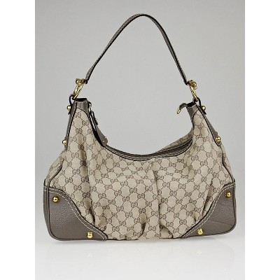 Gucci Beige/Grey GG Canvas Medium Jockey Hobo Bag