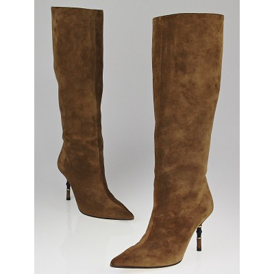 Gucci Toffee Suede Tall Bamboo Boots Size 6.5B
