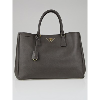 Prada Grafite Saffiano Lux Leather Large Tote Bag BN1844