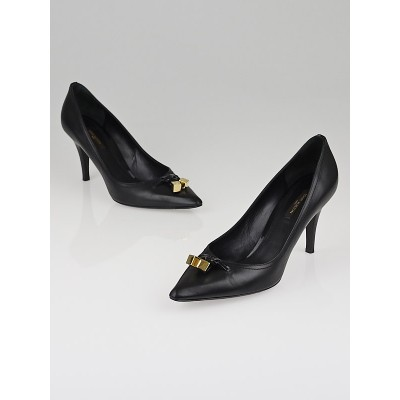 Louis Vuitton Black Leather Pointed Toe Cube Pumps Size 8.5/39