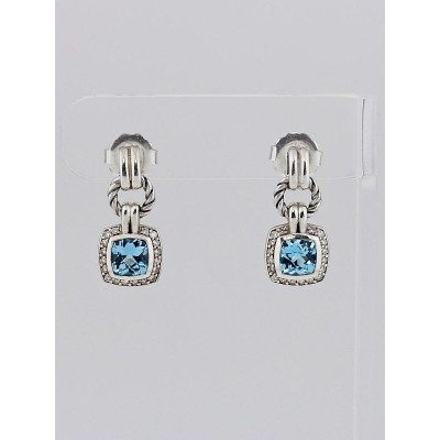 David Yurman Blue Topaz and Diamond Petite Albion Drop Earrings
