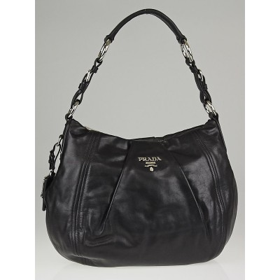 Prada Black Soft Calf Leather Shoulder Bag