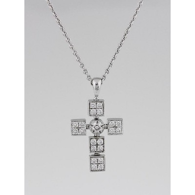 Bvlgari 18k White Gold and Diamond Lucea Latin Cross Pendant Necklace
