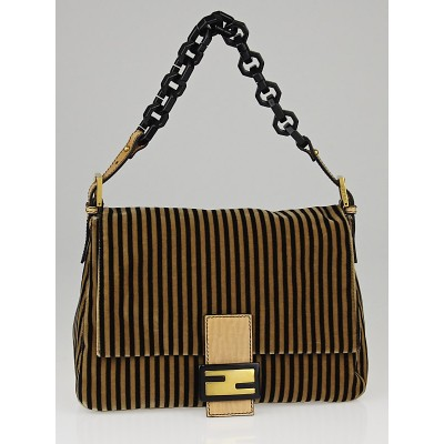 Fendi Black/Brown Striped Velvet Mama Forever Bag