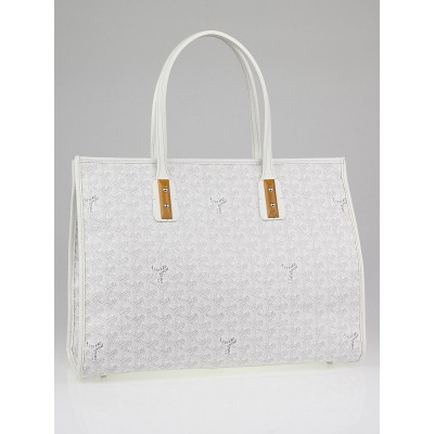 Goyard White Chevron Print Coated Canvas Marquises Tote Bag