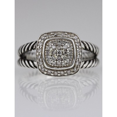 David Yurman 7mm Pave Diamond Albion Ring Size 6