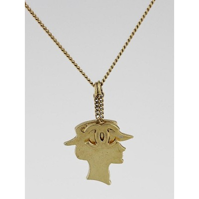 Chanel Goldtone Metal Coco Chanel Pendant Necklace