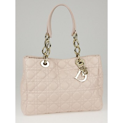 Christian Dior Pale Pink Cannage Quilted Lambskin Leather Small Dior Soft Tote Bag