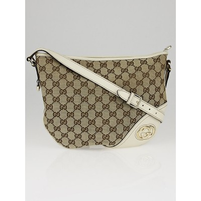Gucci Beige/White GG Canvas Britt Messenger Hobo Bag