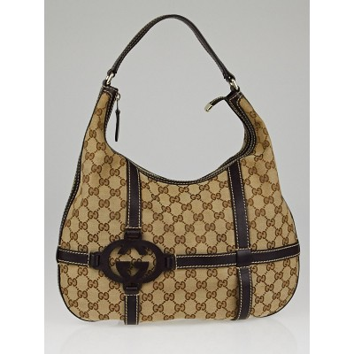 Gucci Beige/Ebony GG Canvas Royal Hobo Bag