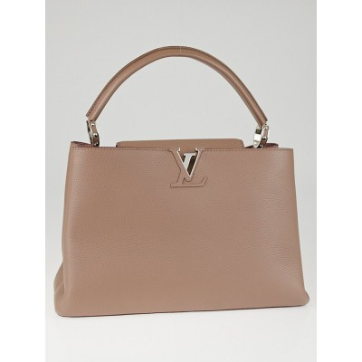 Louis Vuitton Taupe Taurillon Leather Capucines MM Bag