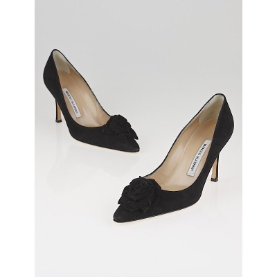 Manolo Blahnik Black Suede Rose Pumps Size 8.5/39