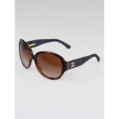 Chanel Tortoise Shell Frame and Blue Denim CC Oversized Sunglasses-5163