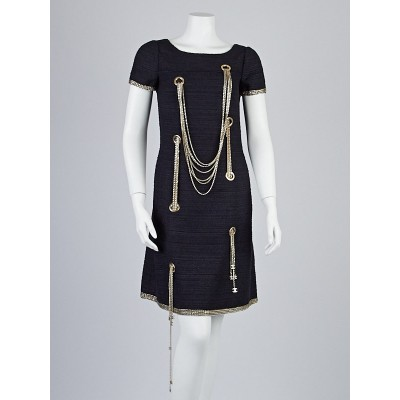 Chanel Black Silk Knit Chains Shift Dress Size 4/36