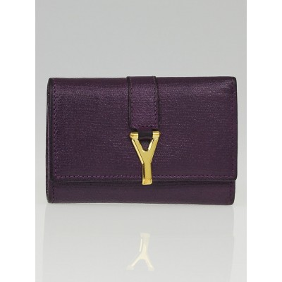 Yves Saint Laurent Dark Violet Leather ChYc 6 Key Holder