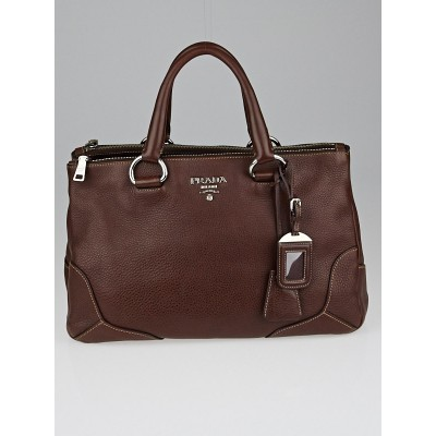 Prada Dark Brown Vitello Daino Leather Tote Bag