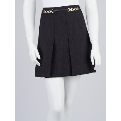 Gucci Grey Wool Pleated Mini Skirt Size 12/46
