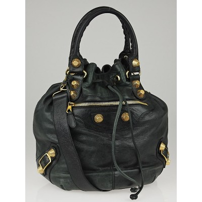 Balenciaga Anthracite Lambskin Leather Giant 21 Gold PomPon Bag
