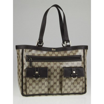 Gucci Beige/Ebony GG Crystal Coated Canvas Abbey Pocket Tote Bag