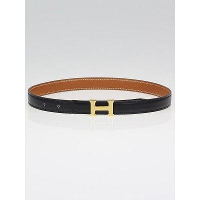 Hermes 18mm Black Box/Gold Courchevel Leather Gold Plated Constance H Belt Size 60