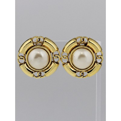 Chanel Vintage Faux Pearl and CC Disc Clip-On Earrings