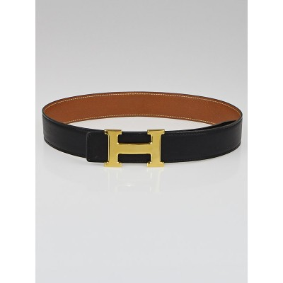 Hermes 32mm Black Box/Gold Courchevel Leather Gold Plated Constance H Belt Size 68