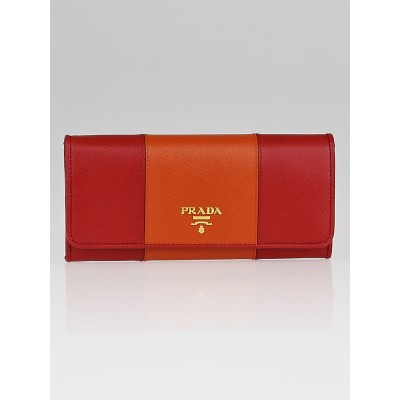 Prada Papaya and Fuoco Saffiano Metal Leather Continental Wallet 1M1132