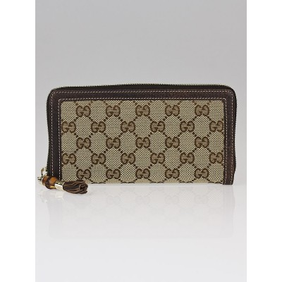 Gucci Beige/Ebony GG Canvas Bamboo Tassel Zippy Wallet