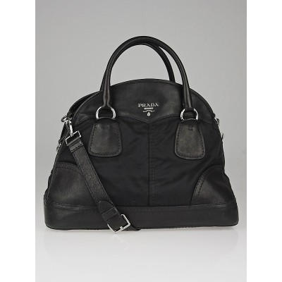 Prada Black Tessuto Nylon and Nappa Leather Bauletto Bowler Bag