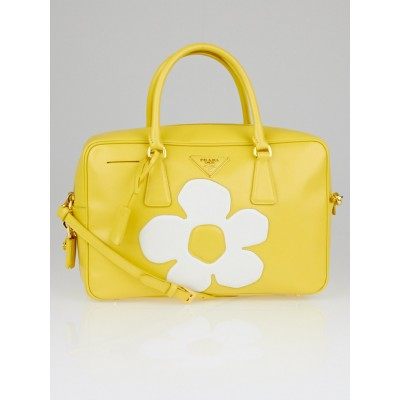 Prada Yellow Saffiano Vernice Patent Leather Flower Top Handle Bauletto Tote Bag