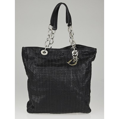 Christian Dior Black Woven Leather Dior Soft Large Tote Bag