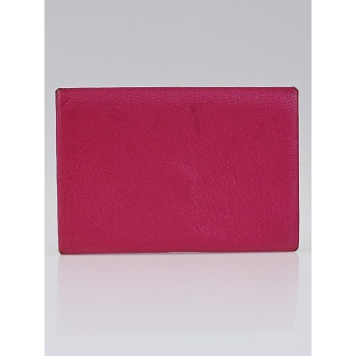 Hermes Rose Shocking Chevre Mysore Leather Calvi Card Case
