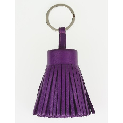Hermes Violet Lambskin Leather Carmen Key Ring