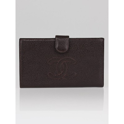Chanel Dark Brown Caviar Leather Long French Purse Wallet